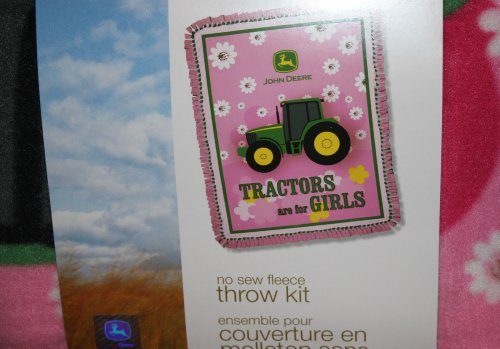 """John Deere Collection """"Tractors Are For Girls"""" Blanket No-Sew Throw Kit"""