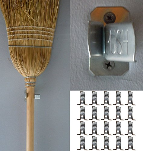 Bulldog Clamp (20 Pack) Spring Grip Garage Closet Wall Organizer for Brooms, Mops, Rakes, Etc. (Broom Holder Clip compare prices)