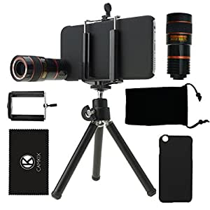 CamKix Camera Lens Kit for iPhone 6 / 6S - including 8X Telephoto Lens / Tripod / Phone Holder / Hard Case / Velvet Bag / Microfiber Cleaning Cloth - Awesome Accessories and Attachments