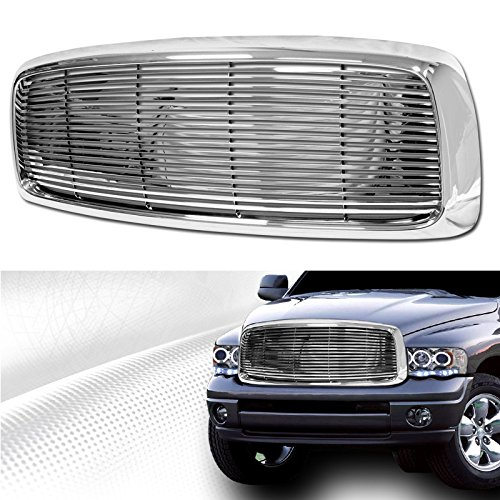 VXMOTOR Chrome Horizontal Sport Front Hood Bumper Grill Grille Fit 02-05 Dodge Ram 1500 / 03-05 Dodge Ram 2500 3500 Model Only (2004 Dodge Ram 1500 Grill compare prices)