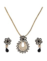 CRENZ Golden Colour Gold Plated Chain Necklace With Earring For Women - B00YX6KR78