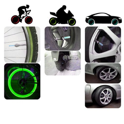 2014 Susenstore 2Pcs Bike Bicycle Car Wheel Tyre Tire Valve Cap Led Neon Flash Lamp Light (Green)