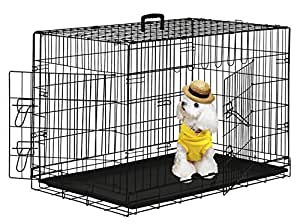 BestPet 2 Door Suitcase Style Folding Metal Dog Crate with ABS Pan 36Lx24Wx26H