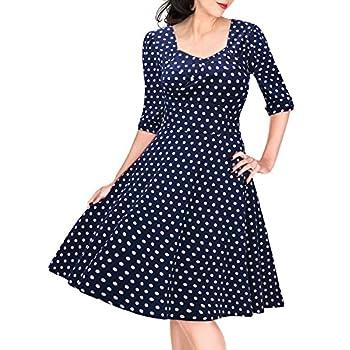 Miusol Women's Retro 1920'S V Neck Polka Dot Half Sleeve Evening Party Swing Dress