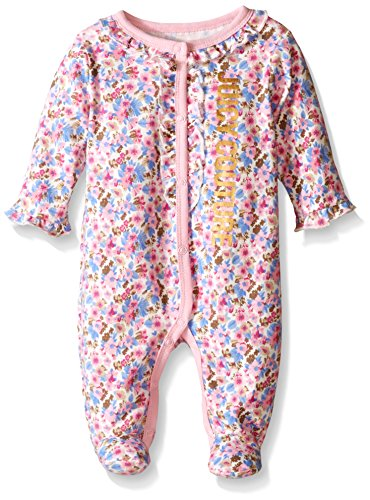 Juicy Couture Baby Sleeper - Printed and Solid Interlock, Hot Pink, 3-6 Months
