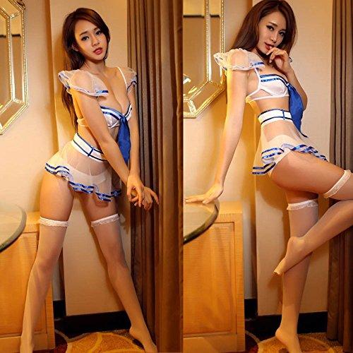 Iainswan Sexy Dessous Negligee Straps Set Babydoll REIZWÄSCHE Cosplay Frauen Französisch Maid Kostüme blau M