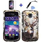 4 items Combo: Mini Stylus Pen + LCD Screen Protector Film + Case Opener + Outdoor Wild Deer Tree Camouflage Design Rubberized Snap on Hard Shell Cover Faceplate Skin Phone Case for Straight Talk Samsung Galaxy Proclaim 720C SCH-S720C / Verizon Samsung Illusion i110