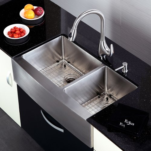 Kraus 36 inch Farmhouse Apron 60/40 Double Bowl 16 gauge Stainless ...