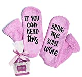 "Luxury Wine Socks ""If You Can Read This Bring Me Some Wine"" with Cupcake Gift Packaging - Funny Novelty Socks, Wine Lovers Gifts for Women – Unique Mother's Day Gift Idea - Wife Birthday Present"