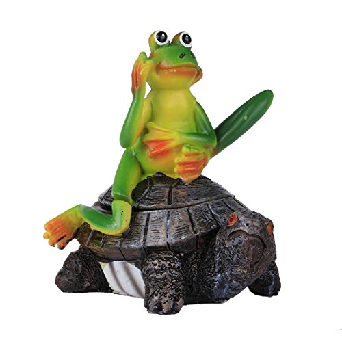 Home-World Resin Miniature Fairy Garden Decor Frog Sitting on Turtle Statue Key Hider,Small (Style A) (Miniature Resin Frog compare prices)