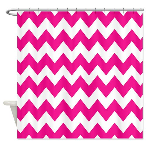 Hot Pink Chevron Stripes Shower Curtain