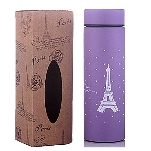 Miraclekoo Eiffel Tower Design Stainless Steel Vacuum Insulated Travel Bottle,Small,9Oz,Purple front-116171