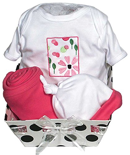Raindrops Delightful Brights Flower Body Suit Gift Set, Strawberry/Black, 3-6 Months, 4 Piece