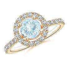 buy Floating Aquamarine And Diamond Halo Antique Style Ring In 14K Rose Gold
