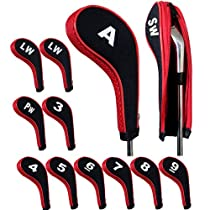 Andux Number Print Golf Iron Covers with Zipper Long Neck 12pcs/set Black/red Mt/w05