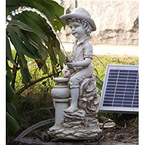 BIRUGEAR Boy Pond Spitter With 5 Watt Solar Powered Garden Water Fountain Pump Kit