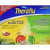Theraflu 6 Multi-symptom Severe Cold Packets + 18 Packets Nighttime Severe Cold & Cough, Total 24 Packets