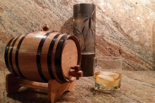 American Oak Barrel with Black Hoops- 2 Liter or .53 Gallons