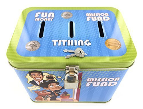 Boy's 3-Slot Tin Bank for Tithing, Mission Fund, and Fun Money