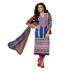 Shenoa Women's Cotton Unstitched Dress Material (2101A_Free Size_Blue)