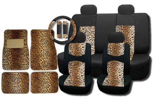 New and Exclusive Mesh Animal Print Interior Set Brown Leopard 15pc Seat Covers Front & Back Lowback, Back Bench, Steering Wheel & Seat Belt Covers - 4pc Floor Mats - Tan Safari (Animal Print Seat Covers For Suv compare prices)