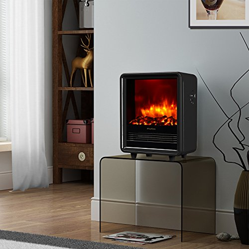 Puraflame octavia black 12 inch portable electric heater for Eco friendly fireplace