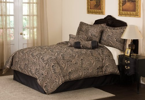 Paisley Black and Gold Cream Comforter Bedding 7pc Set King