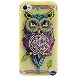 iPhone 4 Phone Case,iPhone 4S Case,Nancy's Shop **New** Fashion Pattern Design [Ultra Slim] [Perfect Fit] [Scratch Resistant] Premium TPU Gel Rubber Soft Skin Silicone Protective Cover Apple iPhone 4/4S (Single owl pattern)