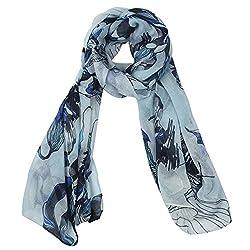 eFuture(TM) Light Blue Fashion Begonia Flower Ink Style Soft & Warm Long Chiffon Shawls Scarves Wrap For Women Lady +eFuture's nice Keyring