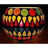 Rajasthani Handmade Mosaic White Glass Candle Holder Diwali Decorations Items For Home 3 Inches