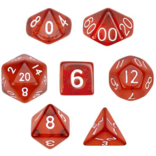 7 Die Polyhedral Dice Set - Translucent Red with Velvet Pouch By Wiz Dice