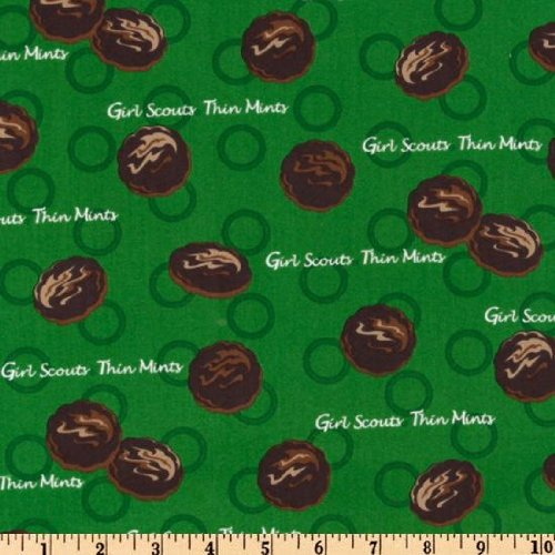 : 44'' Wide Girl Scouts(R) Thin Mint Cookies Green Fabric By The Yard