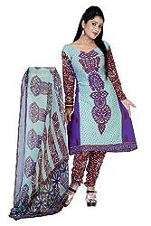 Sky Blue Crepe Dress Material - VD11990