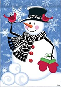 Zebra Scarf Snowman - 28 Inch X 40 Inch Large Decorative Flag