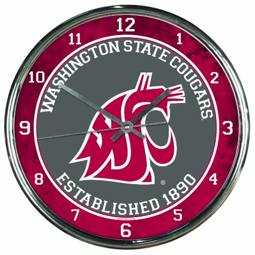 NCAA Washington State Cougars Chrome Clock