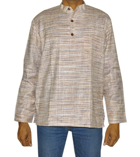 Designed Mens Casual Handmade Khadi Kurta Fabric For Summers & Winter Size M