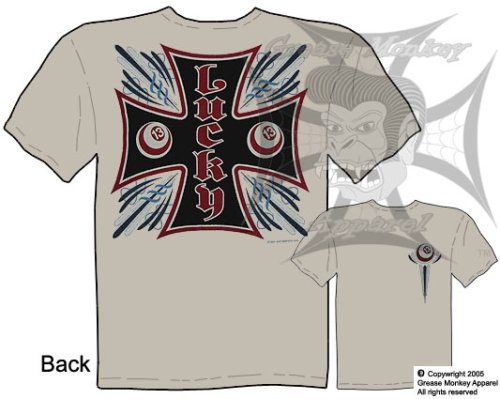 Size Medium, Lucky 13 Iron Cross Billiard Ball, Custom Culture T Shirt, New, Ships within 24 hours