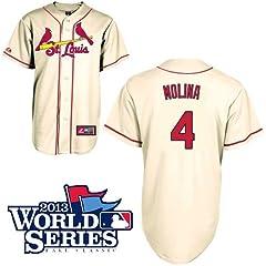 Yadier Molina St. Louis Cardinals Youth Replica Ivory Alternate Jersey w  2013 World... by Majestic