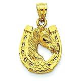 14K Yellow Gold Horse in Horseshoe Charm Pendant