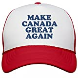 Make Canada Great Again Hat: Snapback Mesh Trucker Hat OS White/Red