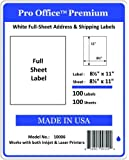 Pro Office Premium 100 Full-Sheet Self Adhesive Shipping Labels for Laser Printers and Ink Jet Printers, White, Made in USA, 8.5 x 11 Inches, Pack of 100, Same Size As Avery 8165 and More