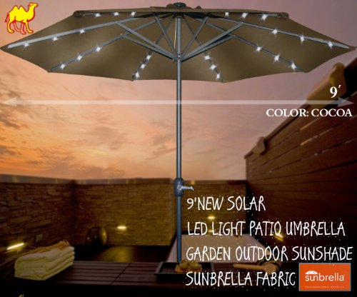 STRONG CAMEL 9'NEW SOLAR LED LIGHT PATIO UMBRELLA GARDEN OUTDOOR SUNSHADE SUNBRELLA FABRIC-COCOA