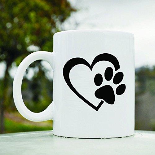 Heart With Dog Paw Cute 11Oz Ceramic Coffee Mug Cup