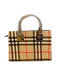 Bhamini Classy Chequered Flannel Handbag (Gold)
