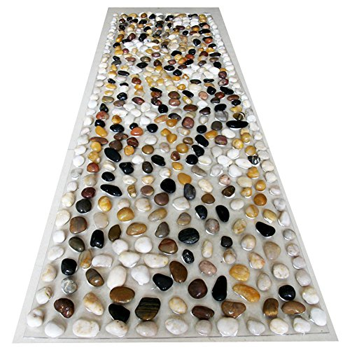 EliteShine Christmas Gift for Daddy New Year Gift for Mom Natural Pebbles Massage Mat Cobblestone Health Care Reflexology Massage Yoga PVC Mat Bathroom Doormat