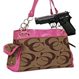 Pink and Khaki Fashion Signature Conceal and Carry Purse