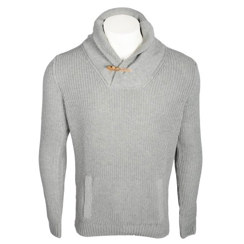 Kickers Men's Grey Marl Shawl Collar Toggle Knitted Jumper In Size 3XLarge