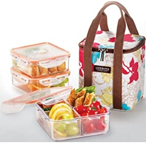 lockandlock square bento lunch box set with insulated bag 3 tritan containers. Black Bedroom Furniture Sets. Home Design Ideas