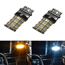 JDM ASTAR Super Bright AX-2835 Chipsets White/Amber 3157 3155 3457 4157 Switchback LED Bulbs For Turn Signal Lights