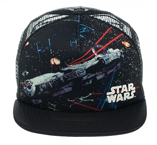 Star Wars Dog Fight Millennium Falcon Tie Fighter Mesh Trucker